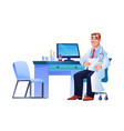 doctor with stethoscope at workplace desk computer vector image