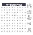 enterprise editable line icons 100 set vector image vector image