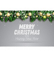 fir branch with neon lights golden christmas vector image vector image