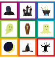 flat icon halloween set of tomb phantom terrible vector image vector image