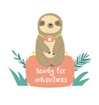 funny sloth in jungles sitting on suitcase vector image vector image