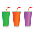 glass of juice with a straw color vector image vector image