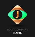 golden letter j logo in the golden-green square vector image