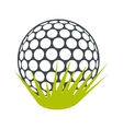 Golf ball on green grass flat icon vector image vector image