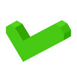 green volumetric check mark icon isolated cartoon vector image