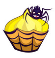 halloween cupcake icon cartoon style vector image