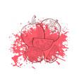Hand drawn sketch tomato on grunge ink splash