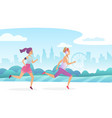 happy couple running in the city public park vector image vector image