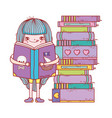 happy little girl reading books vector image vector image