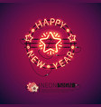 happy new year red neon sign vector image vector image