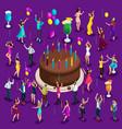 isometry big celebratory cake with candles vector image