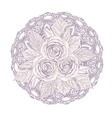 Mandala with bouquet of three roses isolated on vector image