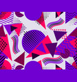 memphis seamless pattern with geometric figures vector image vector image