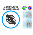 money exchange rounded icon with set vector image vector image