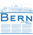 outline bern switzerland city skyline with blue vector image vector image