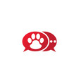 paw inside an chat icon and footprint symbol logo vector image