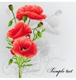 Red poppies on a gray background vector image vector image