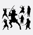 Samurai Japanese warrior silhouette vector image vector image