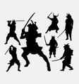 Samurai Japanese warrior silhouette vector image