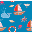 Seamless pattern with boats and sea animals vector image vector image