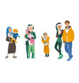 set of family in wintertime in vector image vector image
