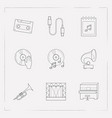 set of studio icons line style symbols with vector image