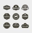 set vintage steak house logos vector image