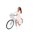 simple woman on bike flat girl on vector image