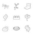 spring icons set outline style vector image vector image