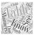 table manners Word Cloud Concept vector image vector image
