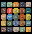 transportation line flat icons with long shadow vector image vector image