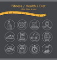 weight loss diet icons set fitness and health vector image vector image
