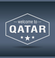 welcome to qatar hexagonal white vintage label vector image vector image