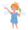angel with halo and wings holding dove and branch vector image
