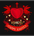 angels are holding big red heart happy easter vector image