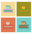 assembly flat icons book cup vector image vector image