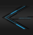 blue light black line arrow on dark grey metal vector image vector image