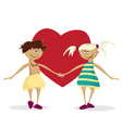 boy and the girl against heart valentines day vector image vector image