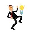 businessman character kicking dollar coin like vector image vector image