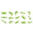 cartoon falling money bills flying green dollar vector image