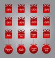 Christmas pricing tags- red gift and bauble shapes vector image vector image