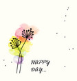 colorful watercolor flower for happy day vector image vector image