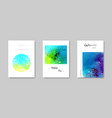colorful watercolor modern card set vector image vector image