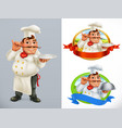 cook chef character and label 3d icon set