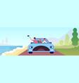 couple trip person car travel honeymoon on beach vector image