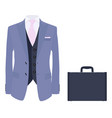 Elegant suit with tie and leather briefcase