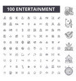 entertainment editable line icons 100 set vector image vector image