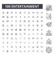 entertainment editable line icons 100 set vector image