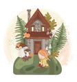 fairy girl house autumn fall nature vector image vector image