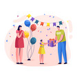 family celebrating birthday parents give presents vector image